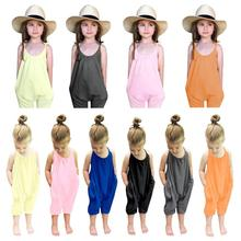 Summer 2019 Kids Baby Girls Strap Jumpsuit Cotton Sleeveless Sling Solid Color Rompers Girl Clothes