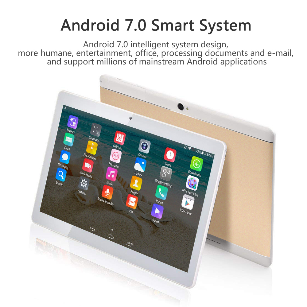 ANRY 10.1 Inch Quad Core Android 7.0 Phone Call 3G Tablet Pc 1280x800 HD IPS Built-in 3G WiFi Bluetooth Pc Tablets 10.1