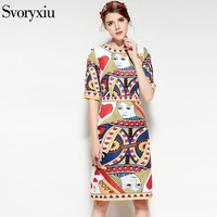 SVORYXIU 2018 Spring Summer Dress Women S High Quality Half Sleeve Beading Colorful Playing Cards Printed