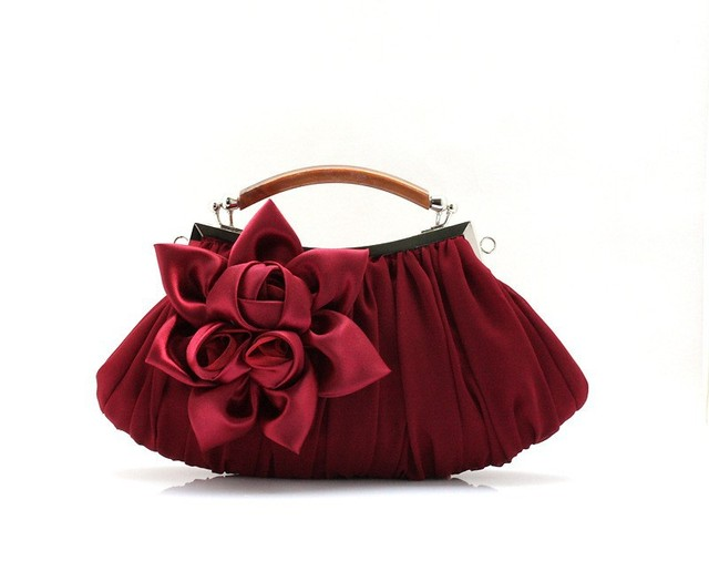 Burgundy Chinese Women's Satin Handbag Hand Party Bridal Wedding Evening Bag Makeup Bag Free Shipping 0005-C