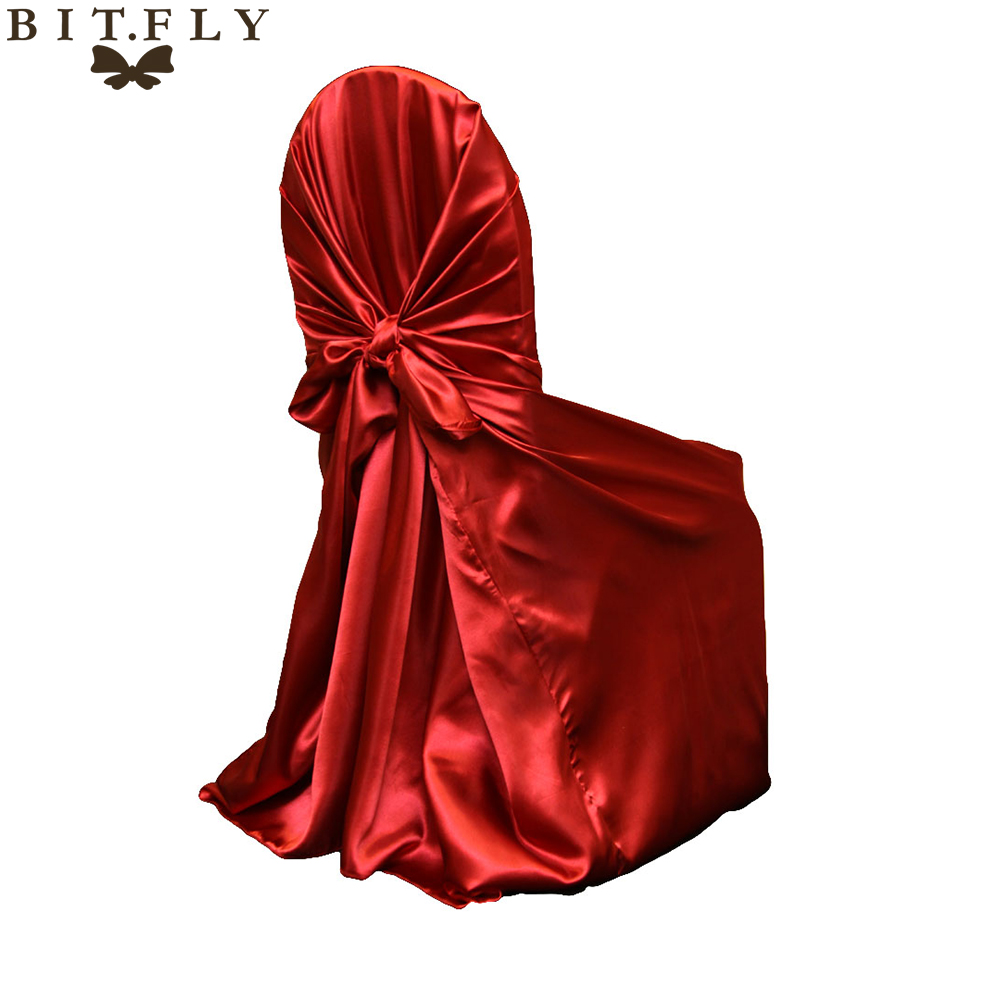 wholesale 10pcs satin universal chair cover for wedding SELF TIE CHAIR COVER FOR RESTAURANT WEDDING SUPPLIES