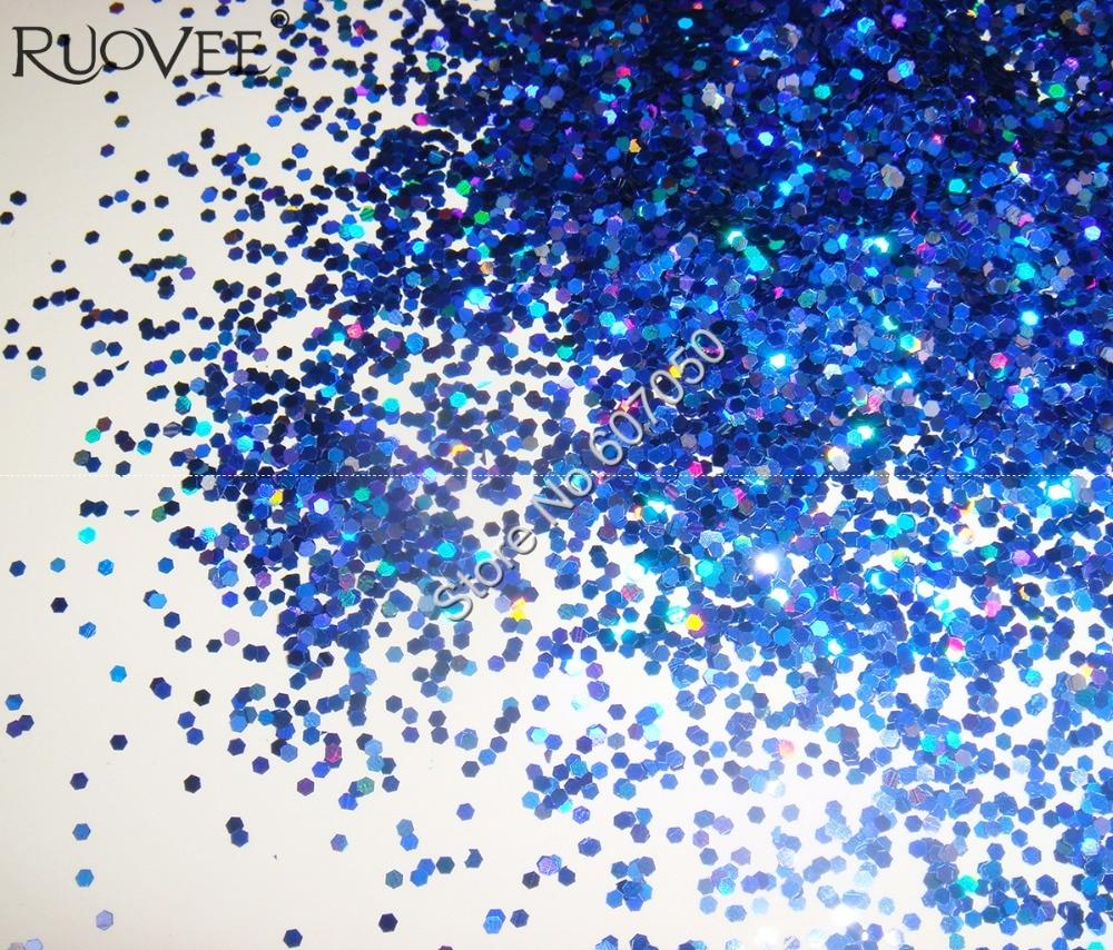 50 г x 1 мм Лазерная голографическая Королевская Синяя Ослепительная шестиугольные блестки Spangle форма для украшения ногтей и блестки для ногтей