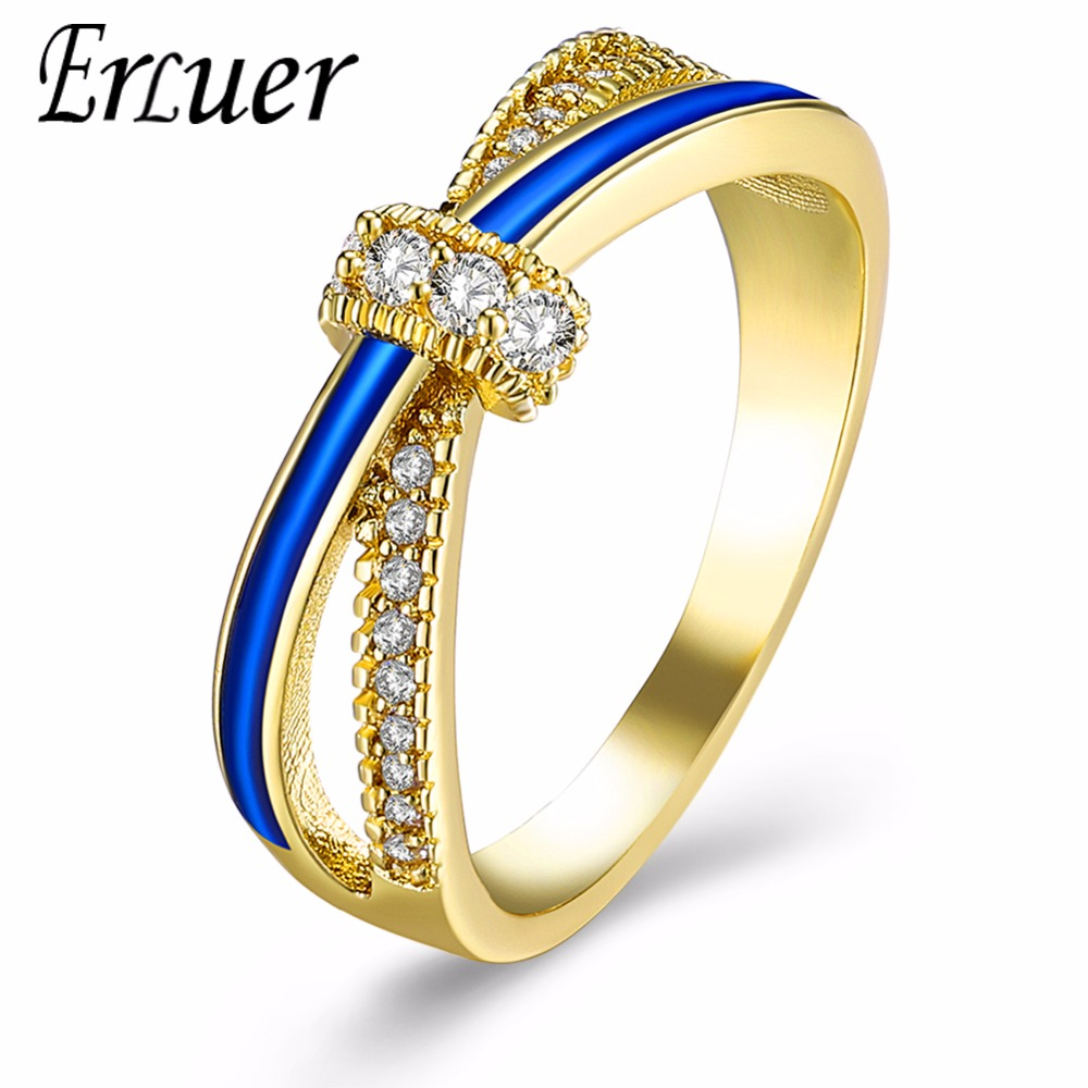 Fashion Classic Womens Ring Jewelry Gold Silver Color Cross intersect Crystal Zircon Enamel Wedding Bridal Ring For Women Bague
