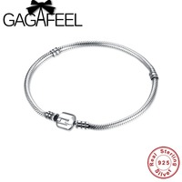 GAGAFEEL 17 20CM Authentic 100 925 Sterling Silver 3MM Snake Chain Bangle Bracelet Luxury Jewelry For
