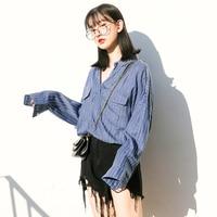 Stripe Long Sleeve Blouse Shirts Spring Print Women Cotton Blouses Plus Size Shirt Camisa Jeans Feminina Womens Clothing 70F0075