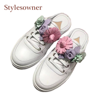 Stylesowner white real leather casual shoes flowers decor slip on slingback shoes close round toe lazy women half slippers flats