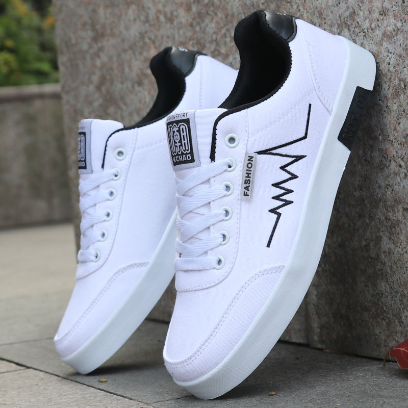 New Arrival 2019 Spring Men Casual Shoes Fashion Breathable Canvas Men Shoes Lace up Comfortable Sneakers Wild Flat Male Shoes in Men 39 s Casual Shoes from Shoes