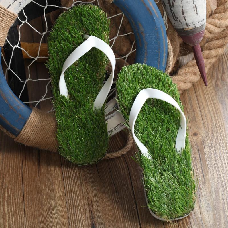 8e0351ea9587df 2017 Women Imitation Grass Flip Flops For Female Summer Beach Flip Flops  Flat Shoe Out Sandals Slipper Women Sandalias Mujer-in Women s Sandals from  Shoes ...