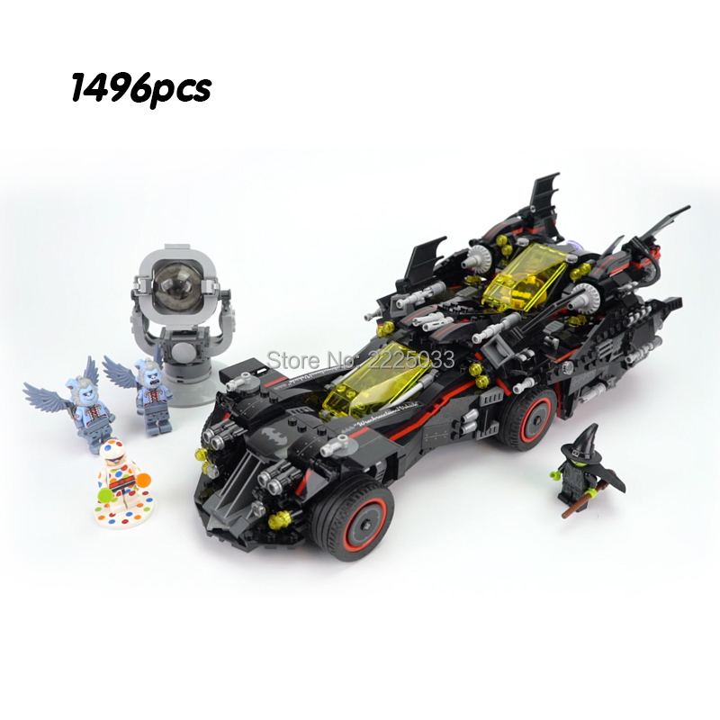 compatible Legoinglys DC Comics Super Heroes Batman Movie - The Ultimate Batmobile 1496pcs Set Building Blocks Bricks Toys Gift цена