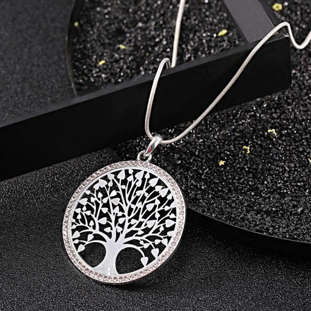 M MISM Hot Tree of Life คริสตัลรอบจี้สร้อยคอเงินสี Bijoux Collier Elegant ผู้หญิงเครื่องประดับของขวัญหยด