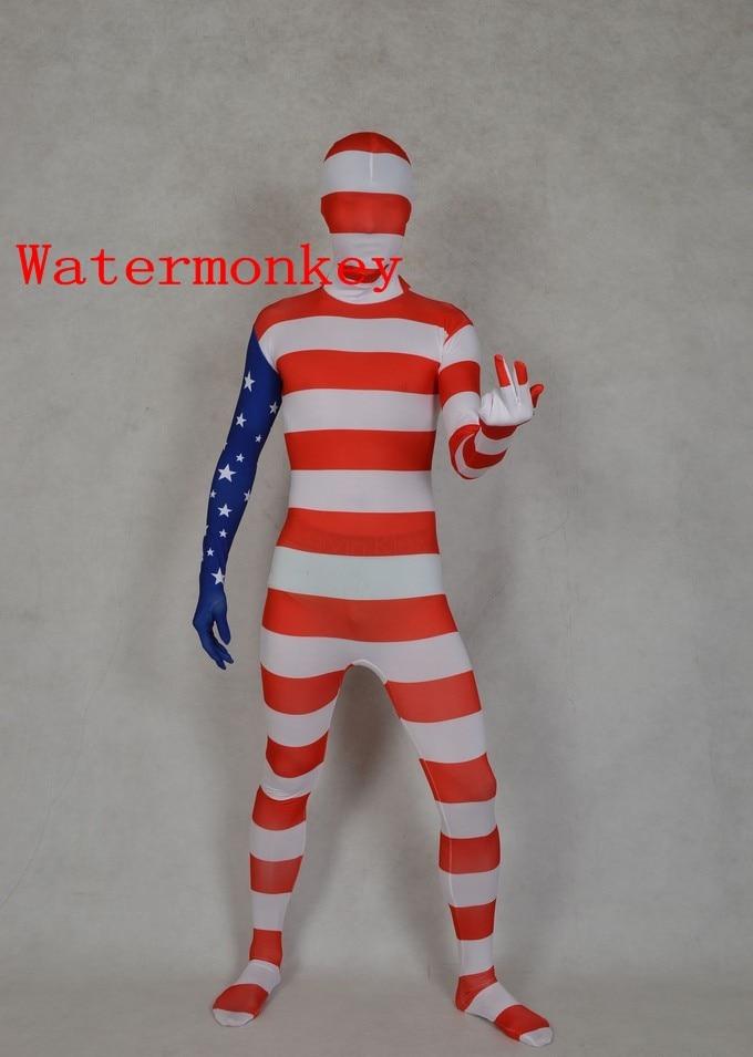 American USA Team Flag Zentai Second Skin Suit Fancy Dress Costume Spandex Lycra