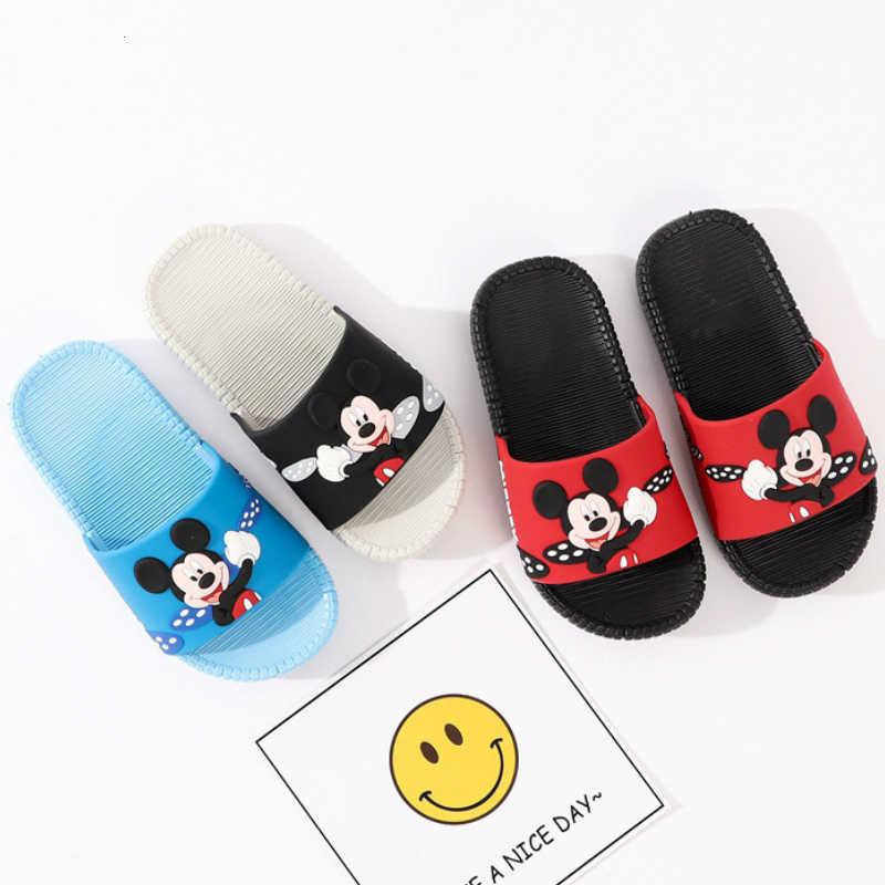 2019 ฤดูร้อนรองเท้าแตะรองเท้าแตะเด็กการ์ตูนMickeyเด็กวัยหัดเดินเด็กบ้านห้องน้ำรองเท้าแตะสำหรับเด็ก 1-8 ปีด้านล่างนุ่มการ์ตูน