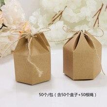 50pcs Nuovo disegno piccolo pacchetto di Carta Kraft scatola di cartone Lanterna esagonale del mestiere del regalo contenitore di caramella di regalo Di Natale di imballaggio di carta box