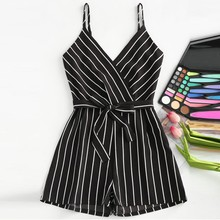 2019 Summer Top Womens V-Neck Sleeveless Strappy Holiday Short Playsuits Striped Cami Belt Romper Jumpsuit palazzo leg striped cami jumpsuit