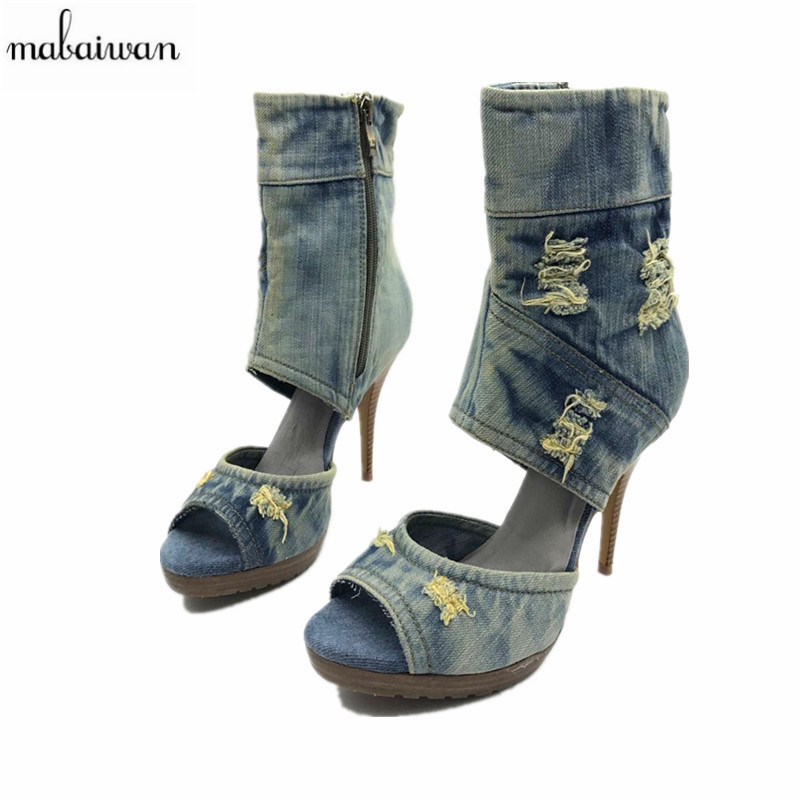 Mabaiwan Peep Toe Women Denim Platform Pumps High Heels Summer Boots Retro Ladies High Top Casual Shoes Woman Gladiator  Sandals nayiduyun women casual shoes low top platform wedge high heels boots round toe slip on pumps punk chic shoes black white sneaker