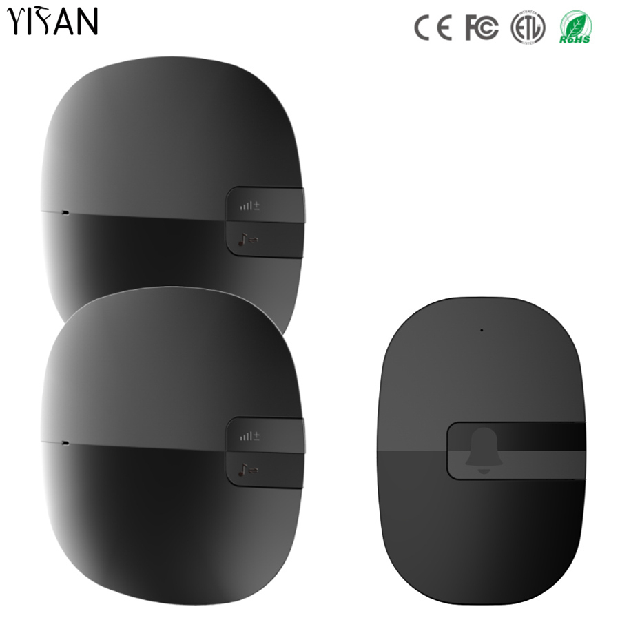 YIFAN New 350M Remote Waterproof Wireless Doorbell EU Plug Door Bell Chime AC 110V-220V 1 transmitters 2 receiver no battery ac 110 220v plug in provide adapter 280m remote control digital wireless doorbell 1 waterpoof button 1 door bell receiver