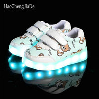 Children Glowing Luminous Sneakers For Boys USB Charging Basket Led Toddler Kids Shoes With Light Up
