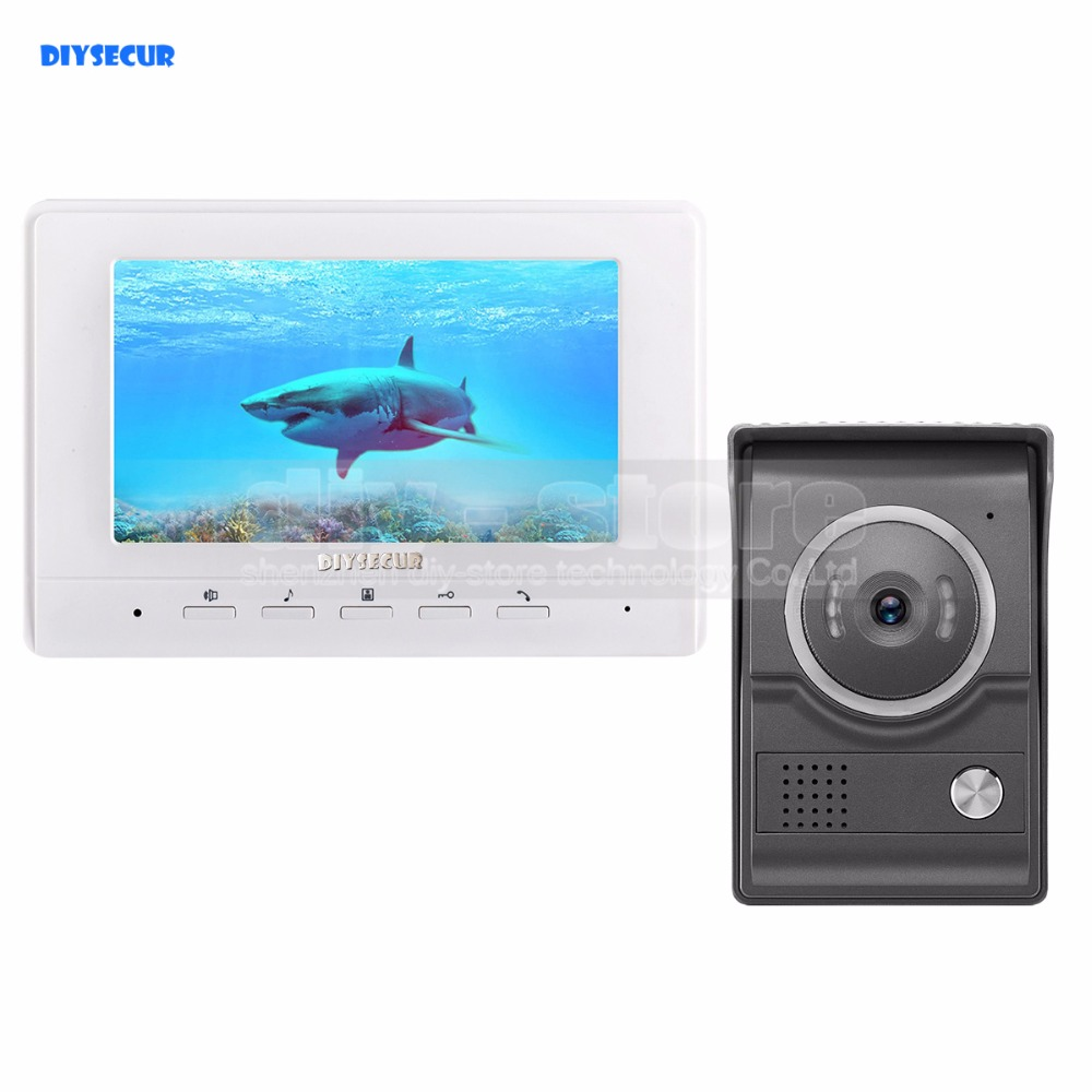 DIYSECUR 7inch Video Intercom Video Door Phone 700TV Line IR Night Vision HD Camera for Home Office Factory White