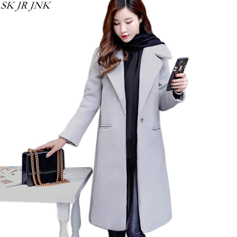 New Winter Women Wool Blend Coat Long Trench Female Outwear Woolen Coat Fashion Winter Warm Cashmere Warm Jacket Plus Size WQ484