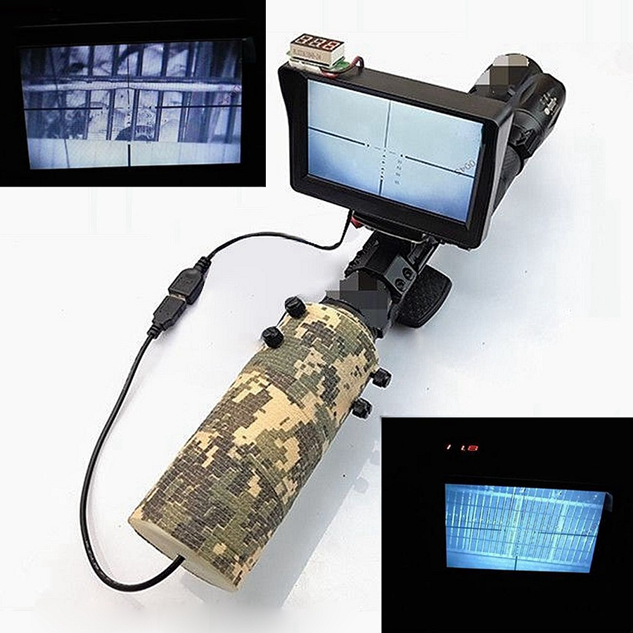 Tag und Nacht Infrarot DIY Nachtsichtgerät Okular für Zielfernrohr mit Lcd-bildschirm & Infrarot Taschenlampe & Camouflage Band