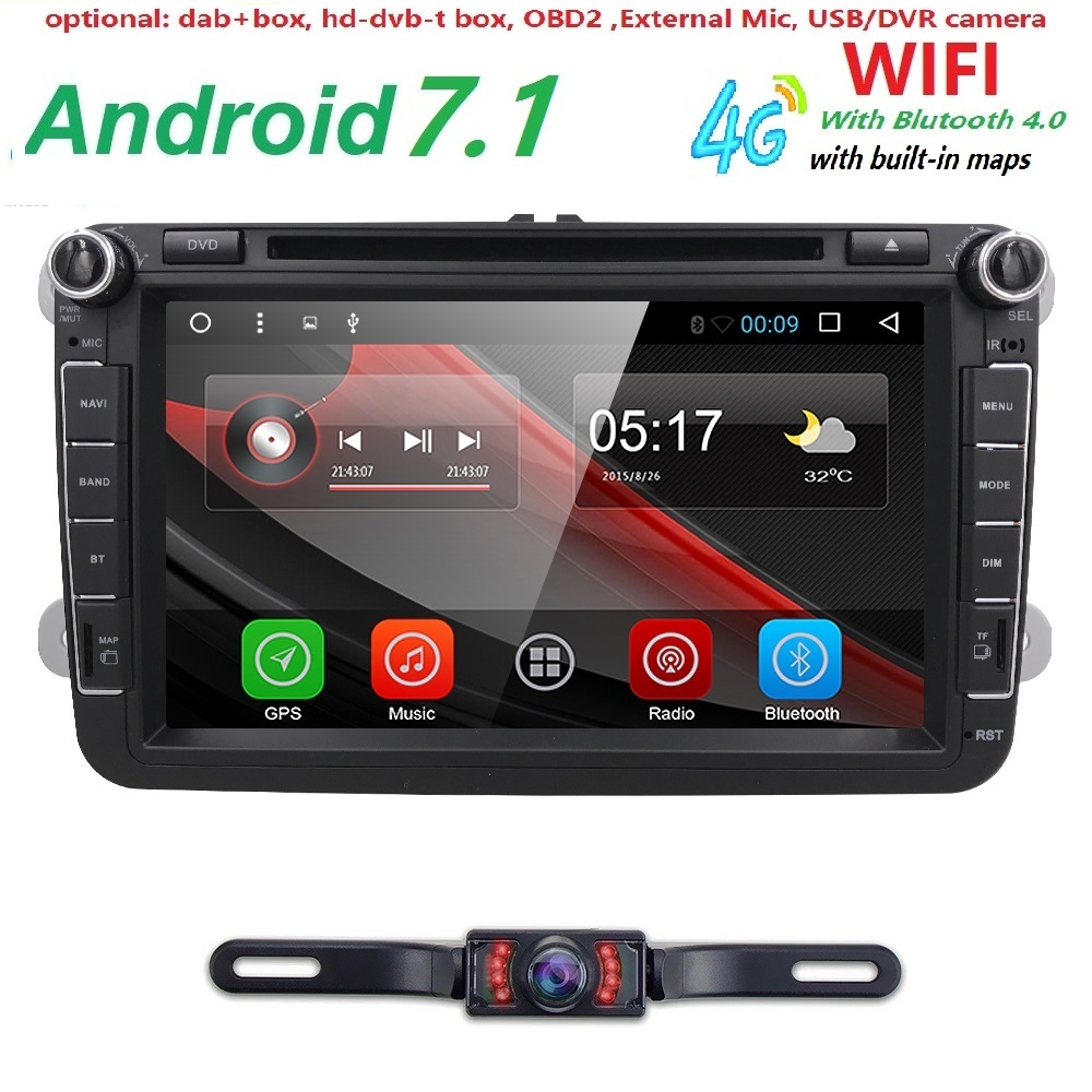 Android 71 car radio for vw jetta passat golf quad core system dvb 4g 8android 71 car radio stereo dvd cd sat nav gps dab fandeluxe Image collections