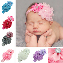 Hot Baby Faux Pearl Rhinestones Stretchy Cloth Ribbon Flower Headband Hair Band 5BUS 7G1U