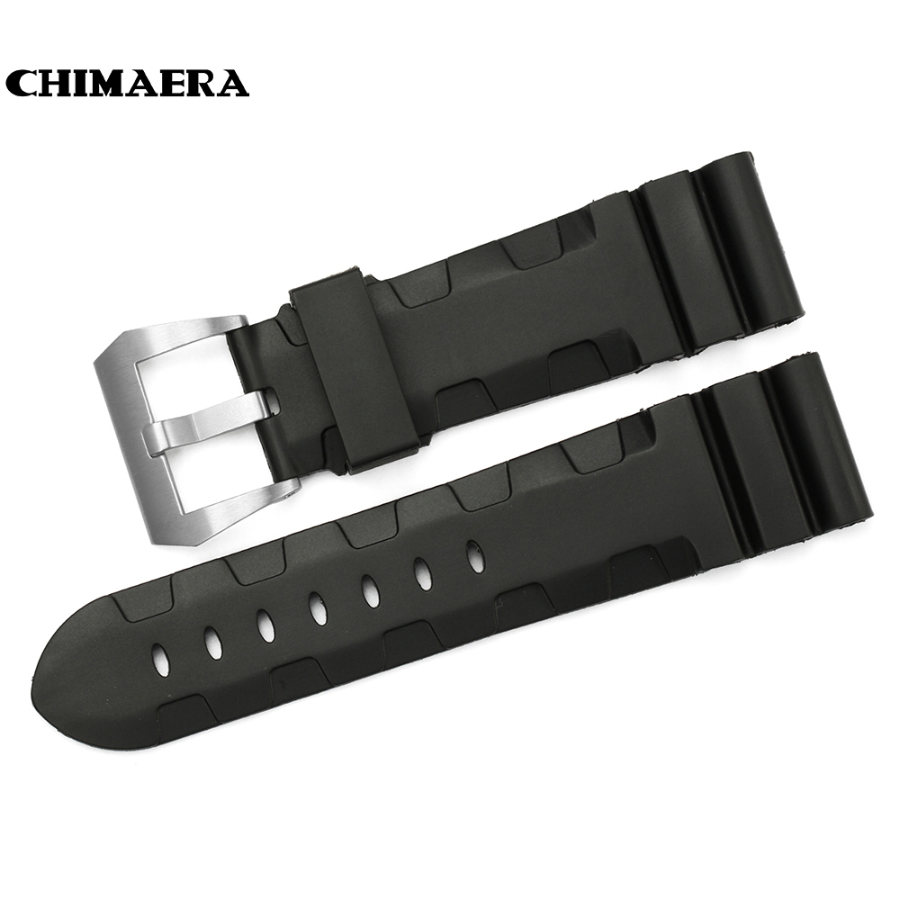 CHIMAERA 24mm Black Watch Rubber Strap Watchband  Watch Band Strap with Brushed Tang Buckle Wrist Strap for Hours For Panerai beautiful cartoon rubber strap quartz watch with plane and cloud shaped watchband for children azure