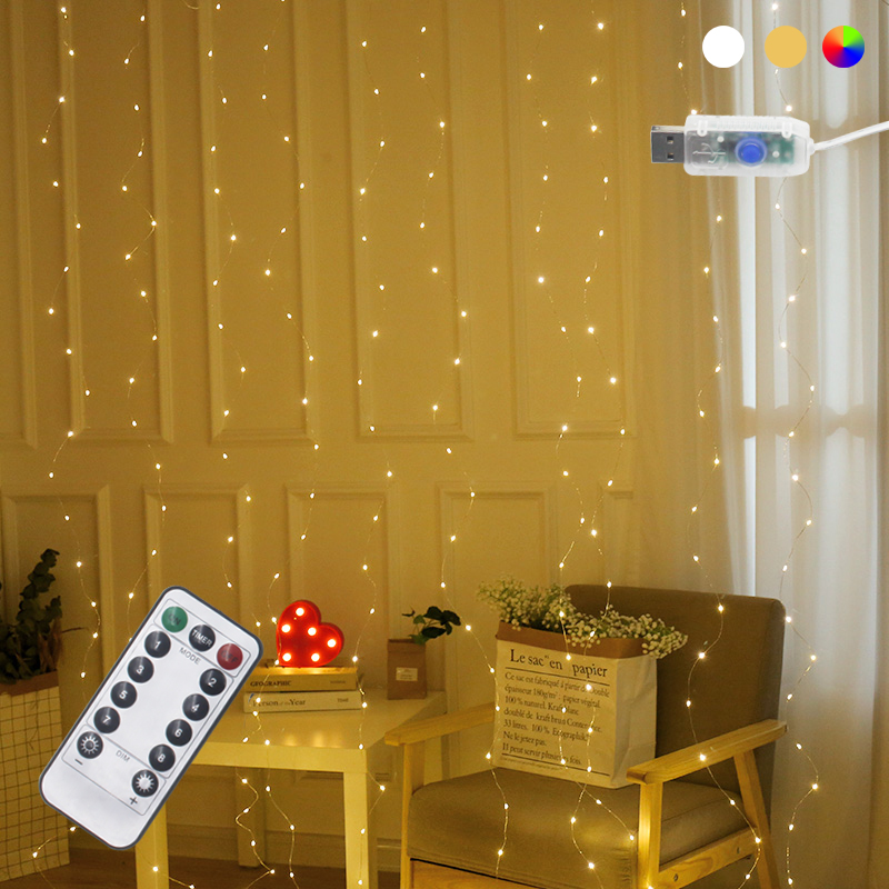 3x3m 300 LED Copper Wire Icicle Curtain Night Lights USB with Remote Controller Garland Fairy String For Wedding Party Decor in Lighting Strings from Lights Lighting