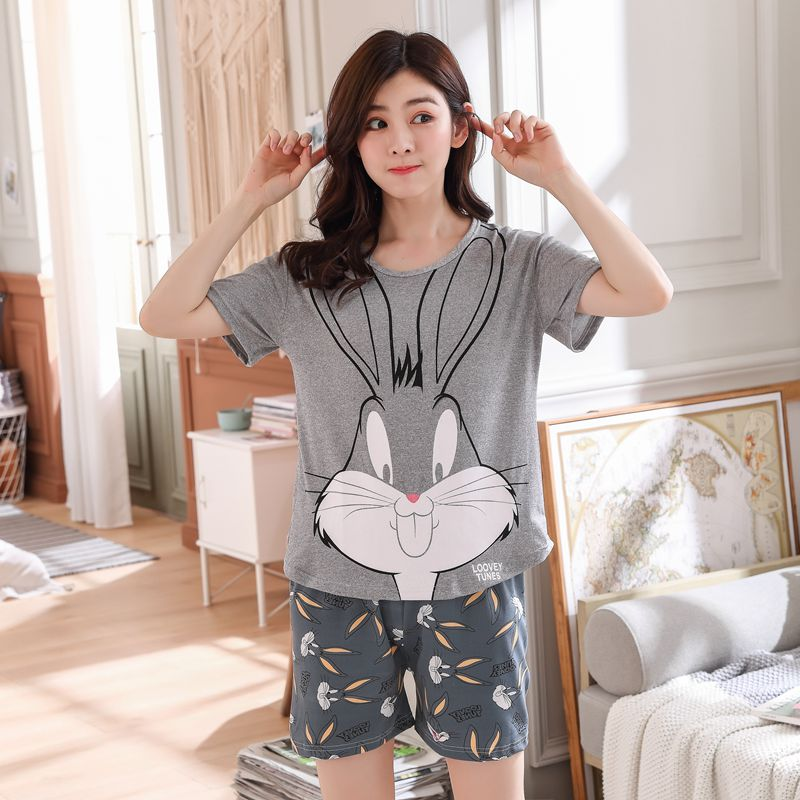 New Big Girl   Pajamas     Sets   summer short Sleeve Thin Cartoon Print Cute Sleepwear Girl Pijamas Mujer Leisure Student Home