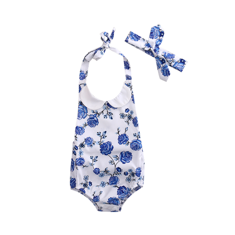 US New Casual 2PCS Infant Baby Girl Clothes Floral Romper Jumpsuit O-Neck Headband Clothes Outfit