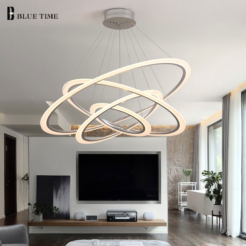 Circle Led Chandelier For Living room Dining room Kitchen Restaurant Light Fixtures Ceiling Chandelier Lighting Luminaire Lustre modern crystal chandelier hanging lighting birdcage chandeliers light for living room bedroom dining room restaurant decoration