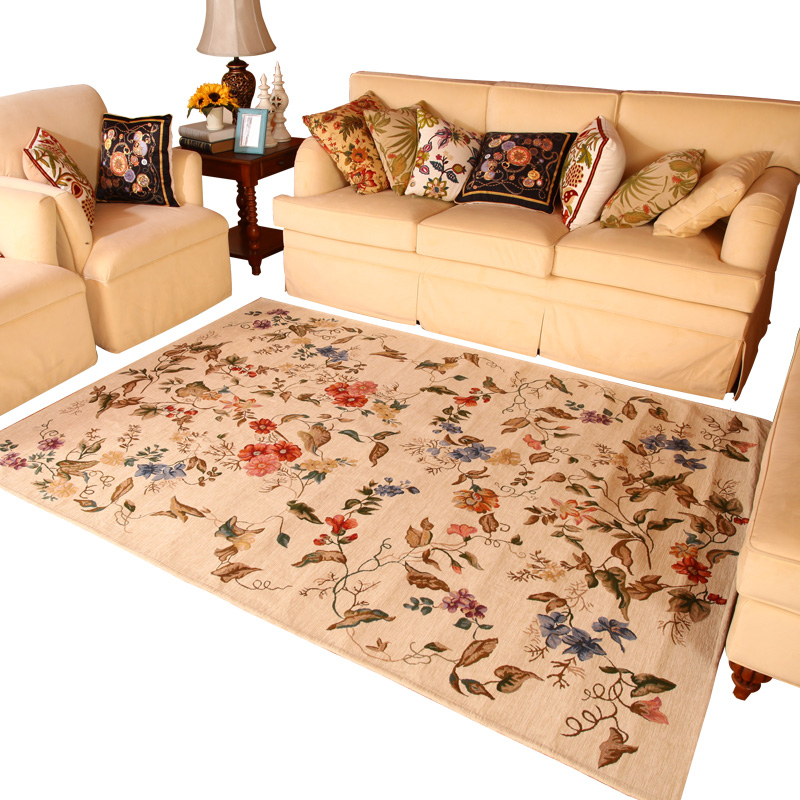 P Style Large Carpet For Living Room Floral Kilim Rug For Bedroom Kid Room Luxury Delicate Polyester Soft Home Floor Mat