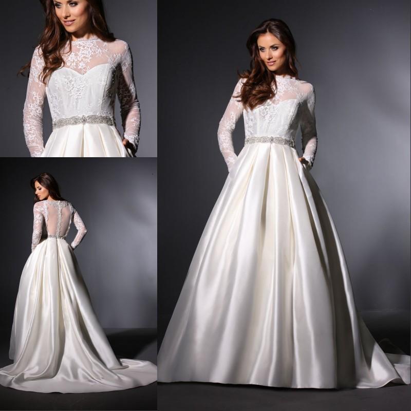 Simple A Line Long Sleeve Wedding Dress Elegant 2016: Elegant Sheer A Line Wedding Dresses Satin Long Sleeve