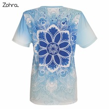 Unique Design Women Short Sleeve t shirt Mandala Clouds