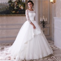 Plus Size Wedding Dresses With Sleeves Scoop White Tulle Appliqued With Lace Bridal Gown Vestido De