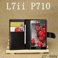 Capa, saco do telefone móvel caso com suporte de cartão estilo carteira de couro Stand Case L7 II P710 P713 Multicolor