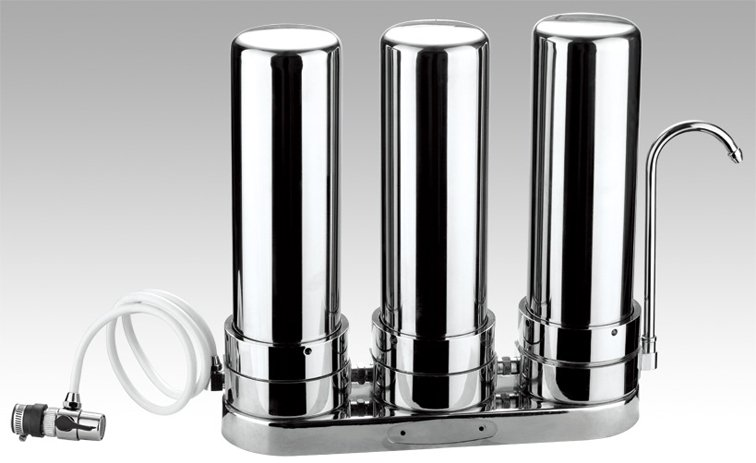 3 stage countertop 304stainless steel water purifier/kitchen water filter/drinking water solution with universtal tap connector3 stage countertop 304stainless steel water purifier/kitchen water filter/drinking water solution with universtal tap connector