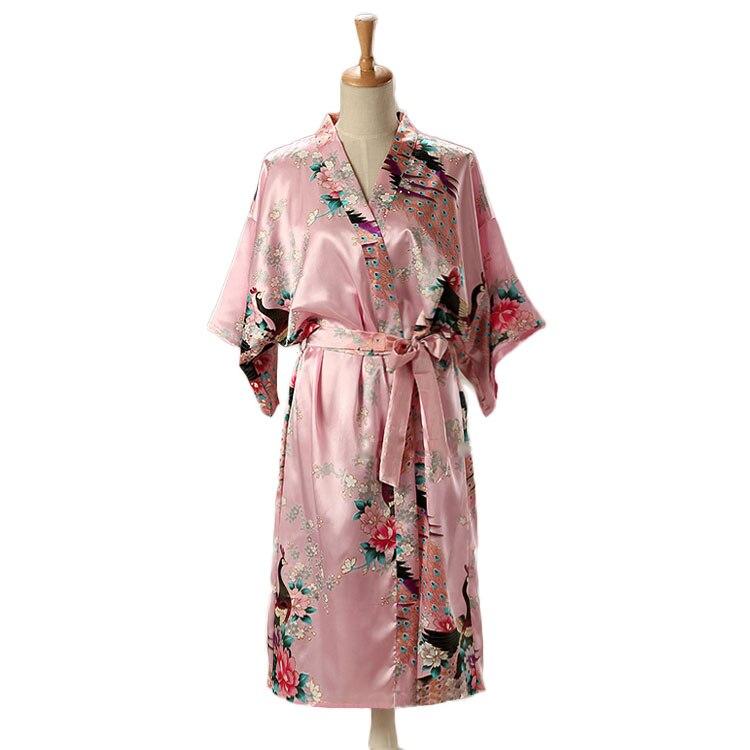 HTB1l8ggXtjvK1RjSspiq6AEqXXaO Woman Loose Style Pajamas Home Sleep Wear Lace Up Peacock Print V-neck Night Gown Japanese Kimono Yukata Bathing Robe