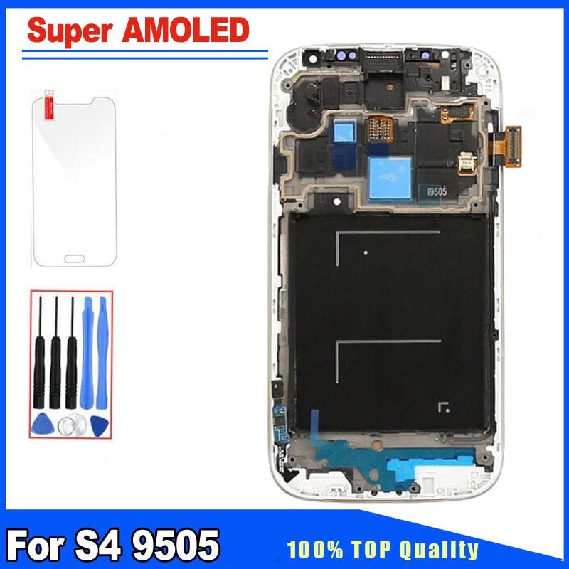 5241b276167 Azul blanca para Samsung Galaxy S4 i9505 i9500 i337 Super AMOLED pantalla  LCD pantalla táctil digitalizador con marco de asamblea completo