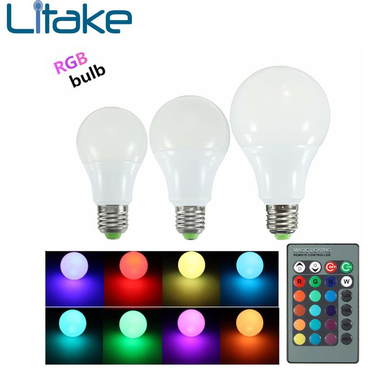 Litake RGB LED Light Bulb - Color Changing with Remote Control,3W-E27-A50 ...