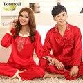 Шелковые Пижамы Женщин Весной и Осенью Любители Пижамы Жениться Красный Шелковый Атлас Пижамы Мужчины Женщины Пара Lounge Pajama наборы XXXL
