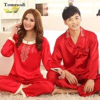 Jedwabne Piżamy Kobiet Wiosenne i Jesienne Miłośników Piżamy Poślubić Czerwony Jedwab Satyna Piżamy Mężczyźni Kobiety Para Salon Piżamy ustawia XXXL