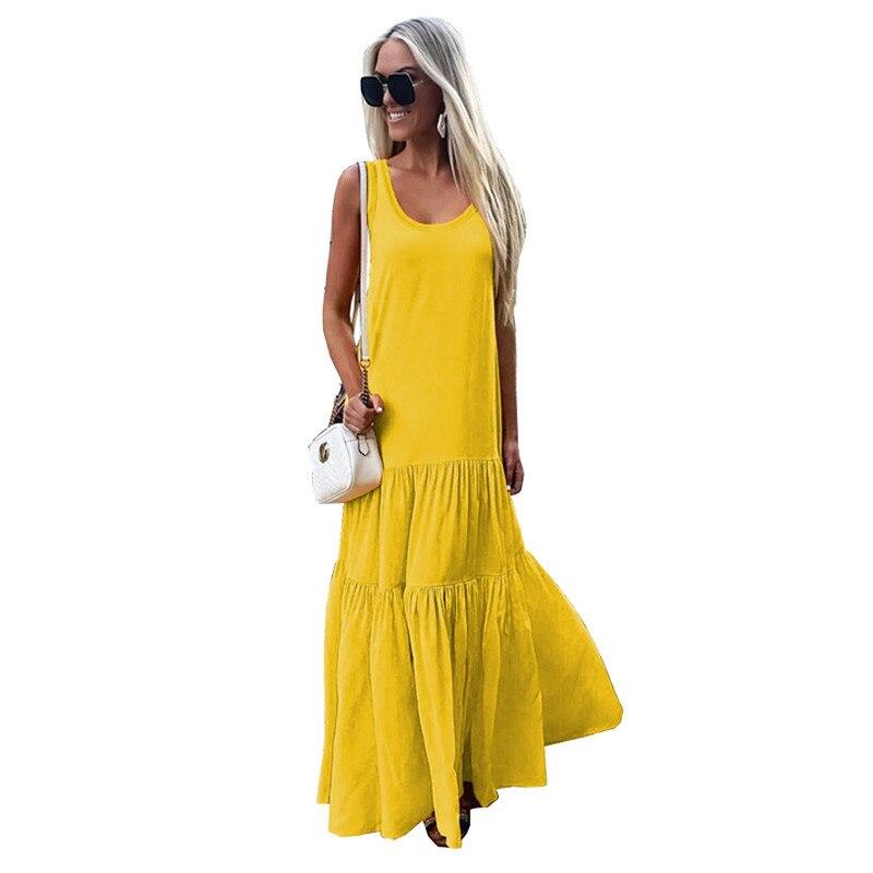 Casual Maxi Dresses Women Sleeveless Summer Beach Dresses Long Sundresses Solid Flowy Elegant Party Dresses Vestidos De Fiesta