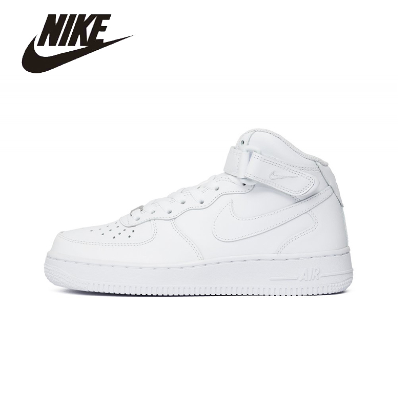 NIKE Original  New Arrival AIR FORCE 1 AF1 MID Womens Skateboarding Shoes Waterproof Comfortable  For Women#314195-113