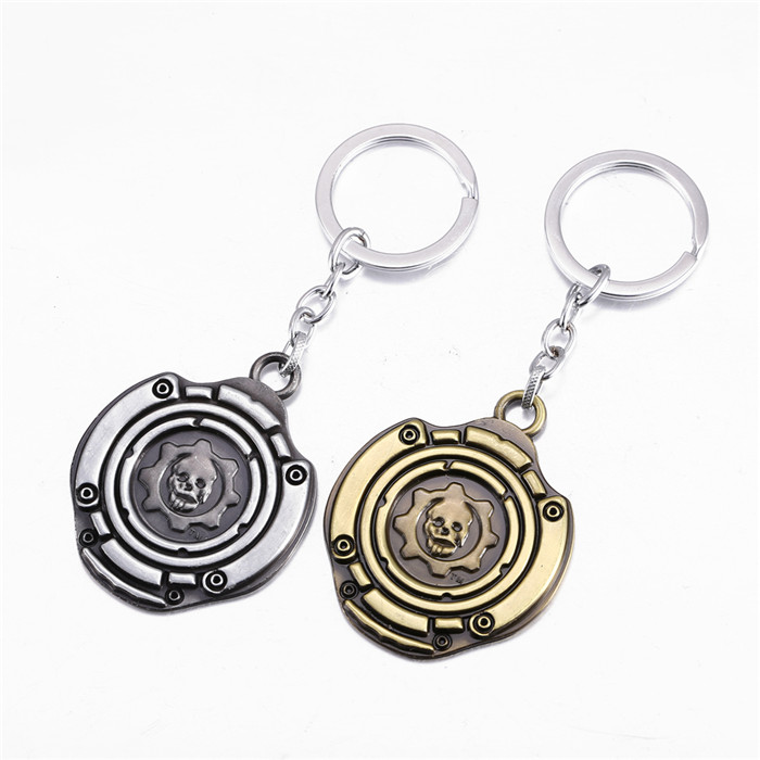 12 pcs/lot 2 colors 2016 New Arrival hot game Gears of War pendant Key chain GOW Logo Key holder For Mans Boys Women