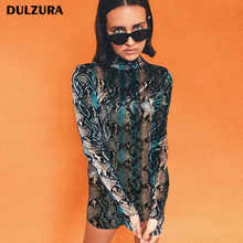 Dulzura strechy snakeskin long sleeve mini dress 2018 summer autumn women snake skin print sexy bodycon party dresses