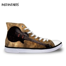 INSTANTARTS Vintage 3D Guitar Print Women High-top Canvas Fashion Teenager Girls