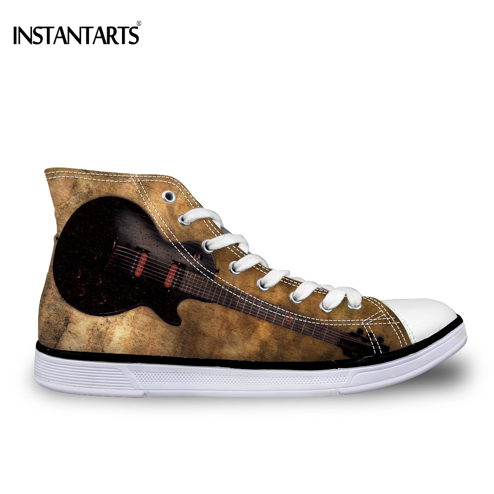 INSTANTARTS Vintage 3D Guitar Print Women High-top Canvas Fashion Teenager Girls High Top Vulcanized Shoes Casual Female Sneaker