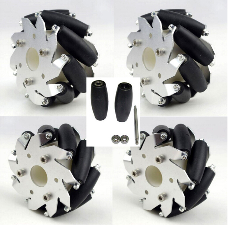 A Set of 4 inch 100 mm Mecanum Wheels with Ball Bearing 2 Left 2 Right