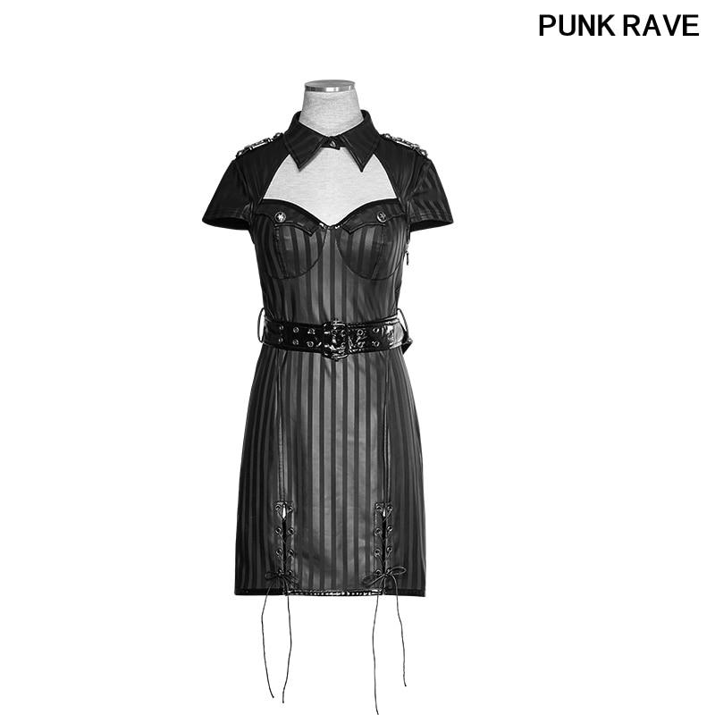 Moda militar a rayas PU uniforme Casual vestidos gótico Punk mujeres novedad Halloween Navidad vestido PUNK RAVE Q 305